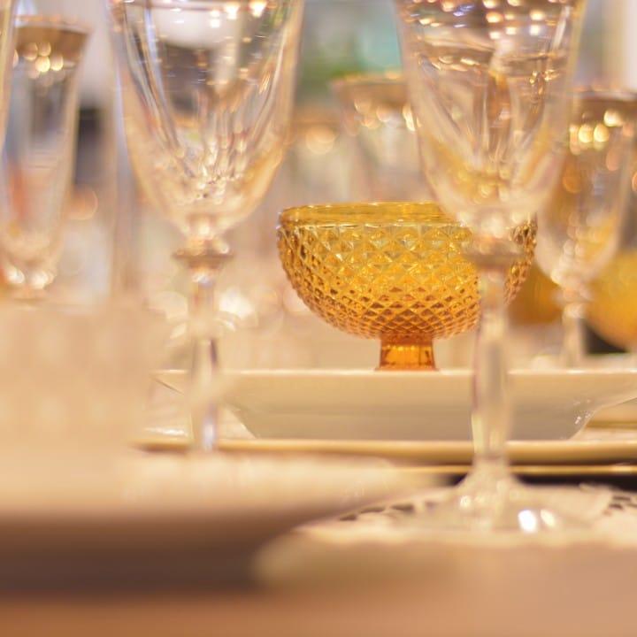 jogo de taças bico de jaca - composição de mesa